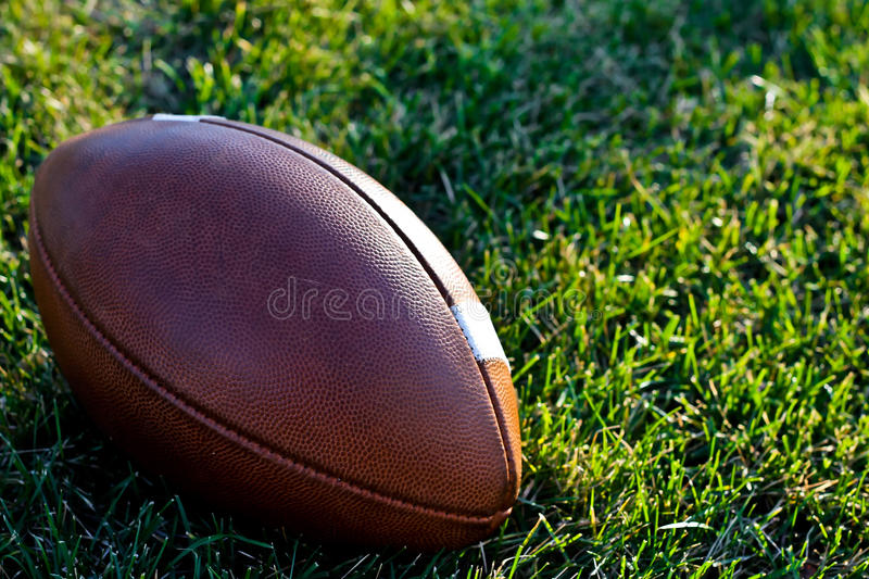 Download A Regulation Football On A Natural Grass Field Stock Photo - Image: 27614182
