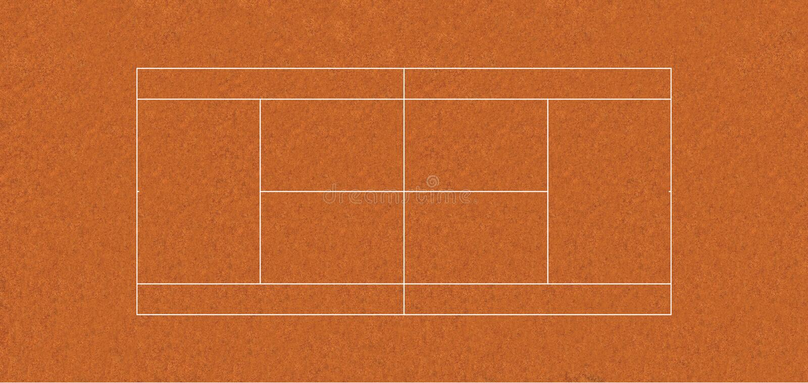 Regulation tennis court CLAY stock illustration