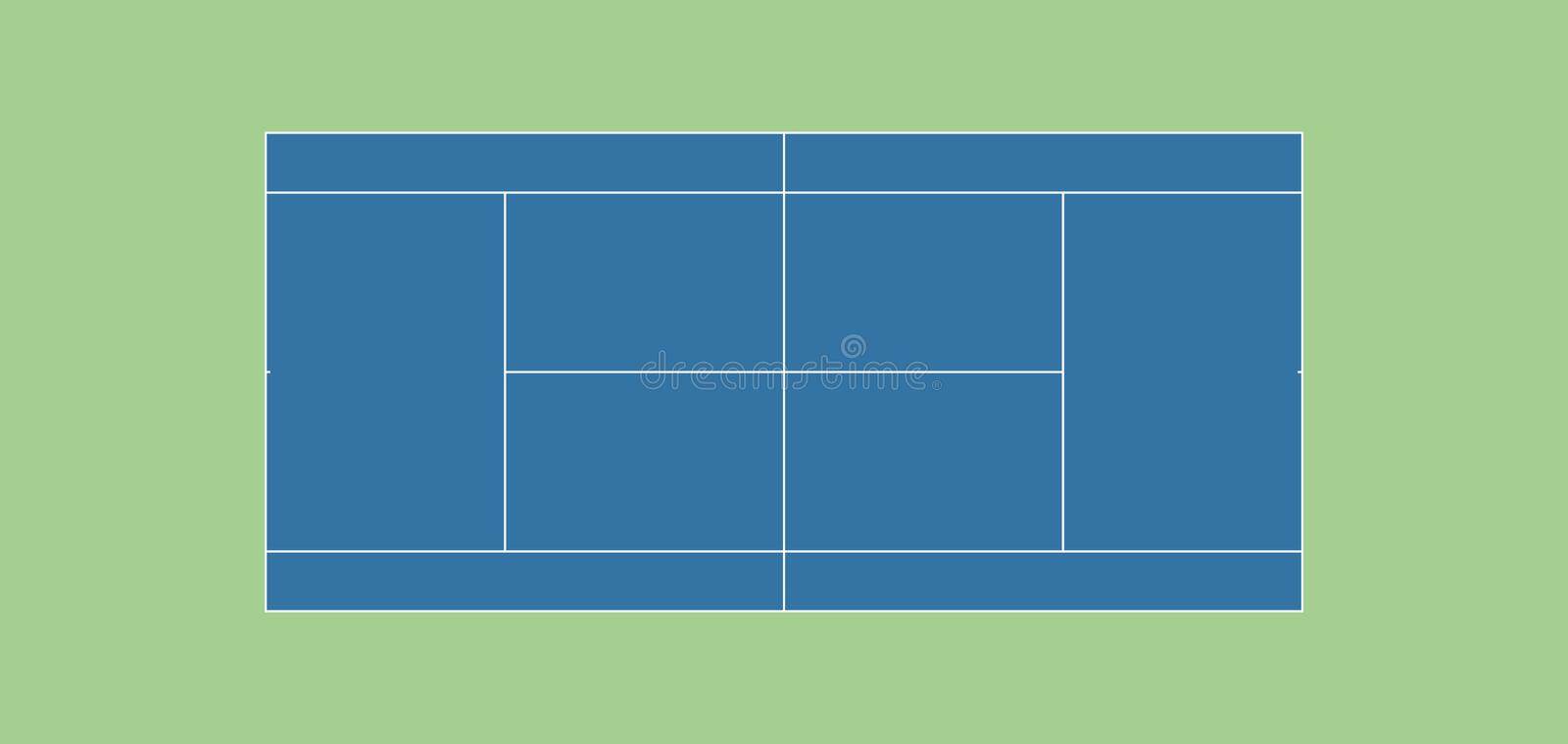 Regulation tennis court HARDCOURT stock illustration