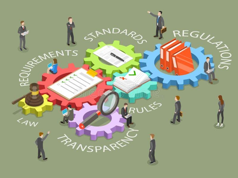 Regulatory compliance flat isometric vector. stock illustration