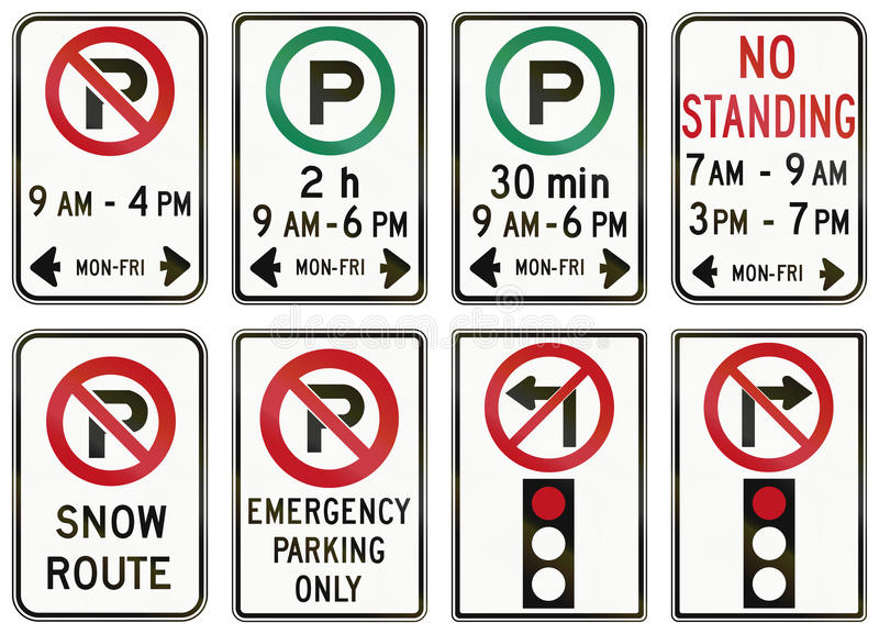 Regulatory road signs in Ontario - Canada royalty free illustration