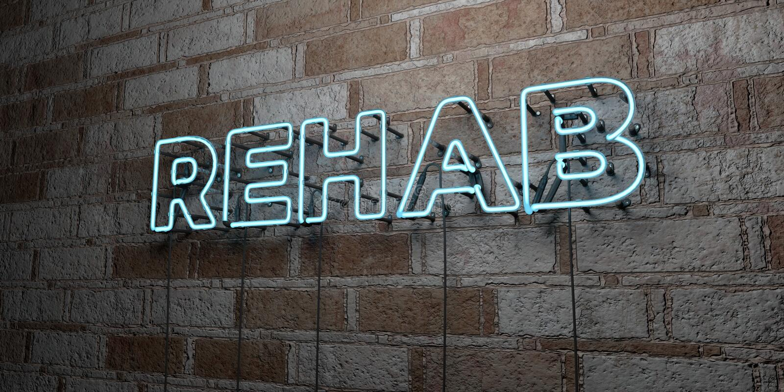 REHAB - Glowing Neon Sign on stonework wall - 3D rendered royalty free stock illustration. Can be used for online banner ads and direct mailers vector illustration