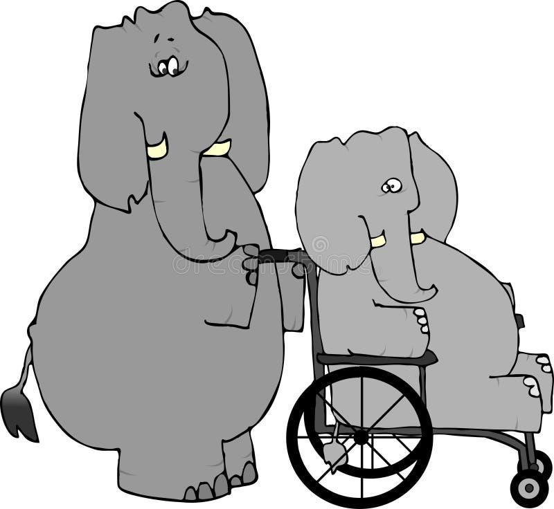 Rehabilitación del elefante stock de ilustración