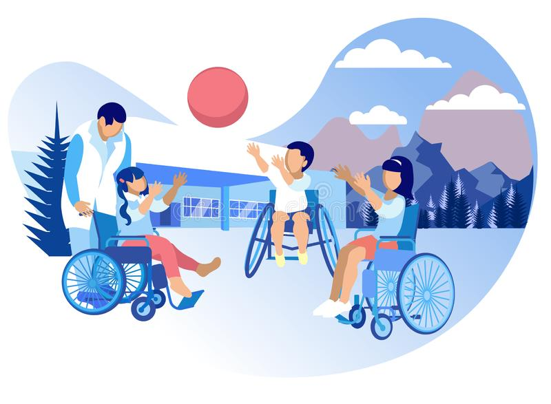 Rehabilitación y adaptación para la historieta de los niños ilustración del vector