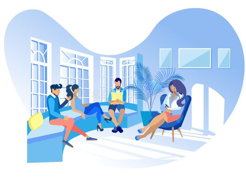 Rehabilitación y adaptación psicológicas planas stock de ilustración