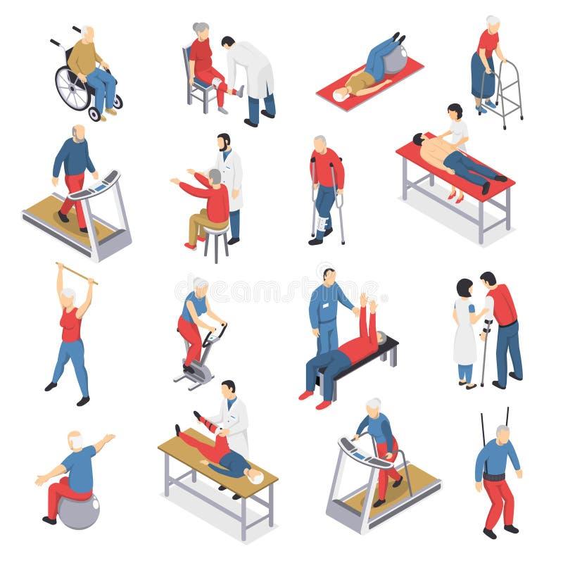 Rehabilitaci fizjoterapii Isometric ikony Ustawiać ilustracji