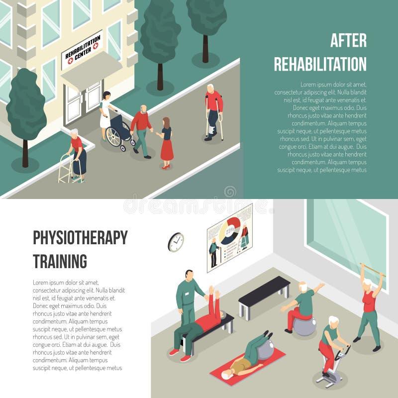 Rehabilitaci I fizjoterapii Stażowi sztandary ilustracji