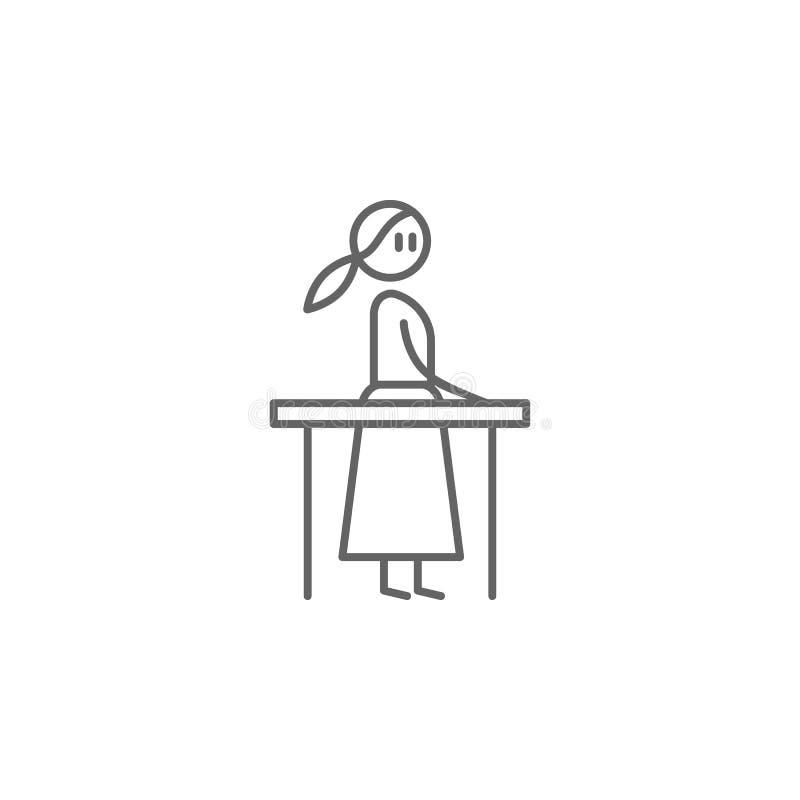 Rehabilitacja, fizjoterapia, kobiety ikona Element fizjoterapii ikona Cienka kreskowa ikona dla strona internetowa projekta i roz ilustracja wektor