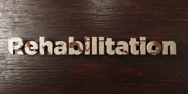 Rehabilitacja - grungy drewniany nagłówek na klonie - 3D odpłacający się królewskość bezpłatny akcyjny wizerunek royalty ilustracja