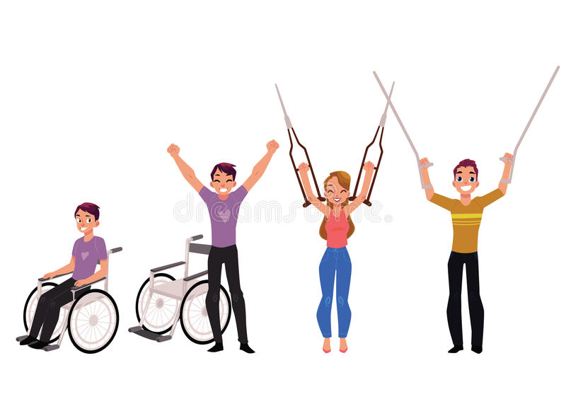 Rehabilitacja, wyzdrowienie po urazu, żadny więcej potrzeba dla wózka inwalidzkiego, szczudła ilustracji