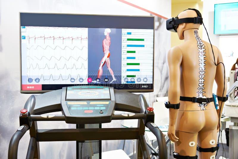 Rehabilitation device with virtual reality. Rehabilitation device with a virtual reality stock photography