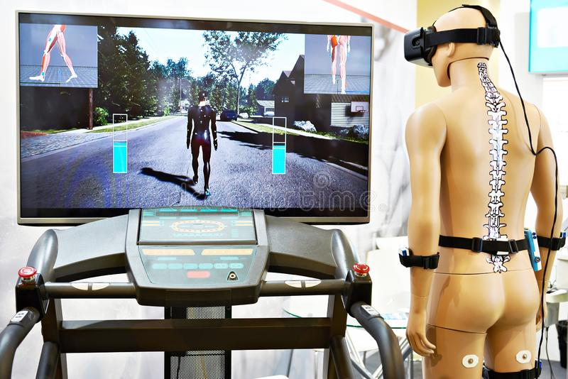Rehabilitation device with virtual reality. Rehabilitation device with a virtual reality royalty free stock photos