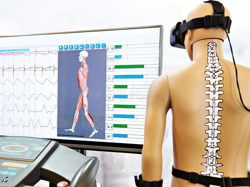 Rehabilitation device with virtual reality. Rehabilitation device with a virtual reality stock photos