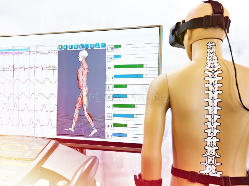 Rehabilitation device with virtual reality. Rehabilitation device with a virtual reality stock image