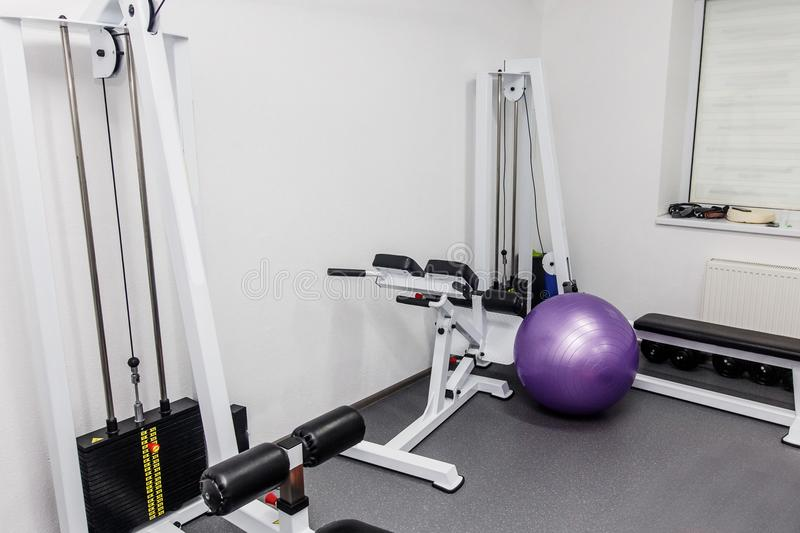 Rehabilitation equipment in therapy clinic. modern gym weight tr. Aining equipment for exercises and rehab for back. fitness wellness concept. space for text stock image