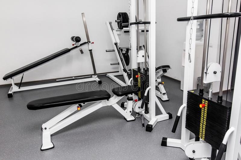 Rehabilitation equipment in therapy clinic. modern gym weight tr. Aining equipment for exercises and rehab for back. fitness wellness concept. space for text stock photo