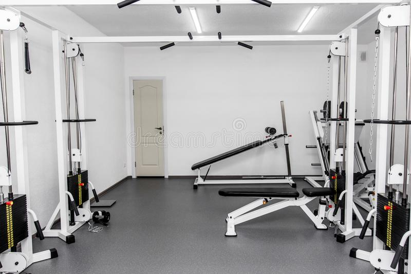 Rehabilitation equipment in therapy clinic. modern gym weight tr. Aining equipment for exercises and rehab. fitness wellness concept. space for text royalty free stock photos