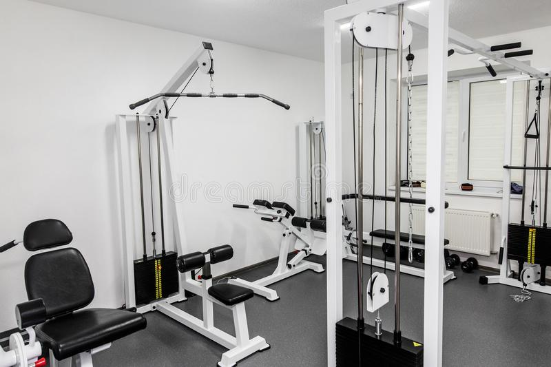 Rehabilitation equipment in therapy clinic. modern gym weight tr. Aining equipment for exercises and rehab. fitness wellness concept. space for text stock image