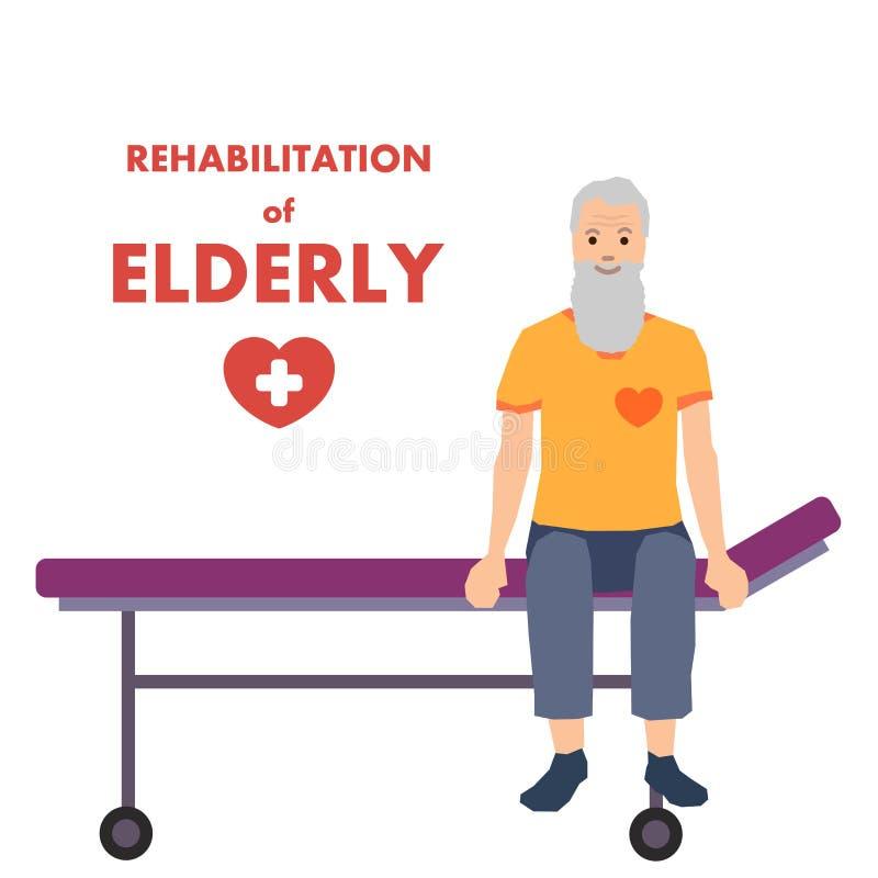 Rehabilitation für ältere Menschen Flat Vector Advert stock abbildung