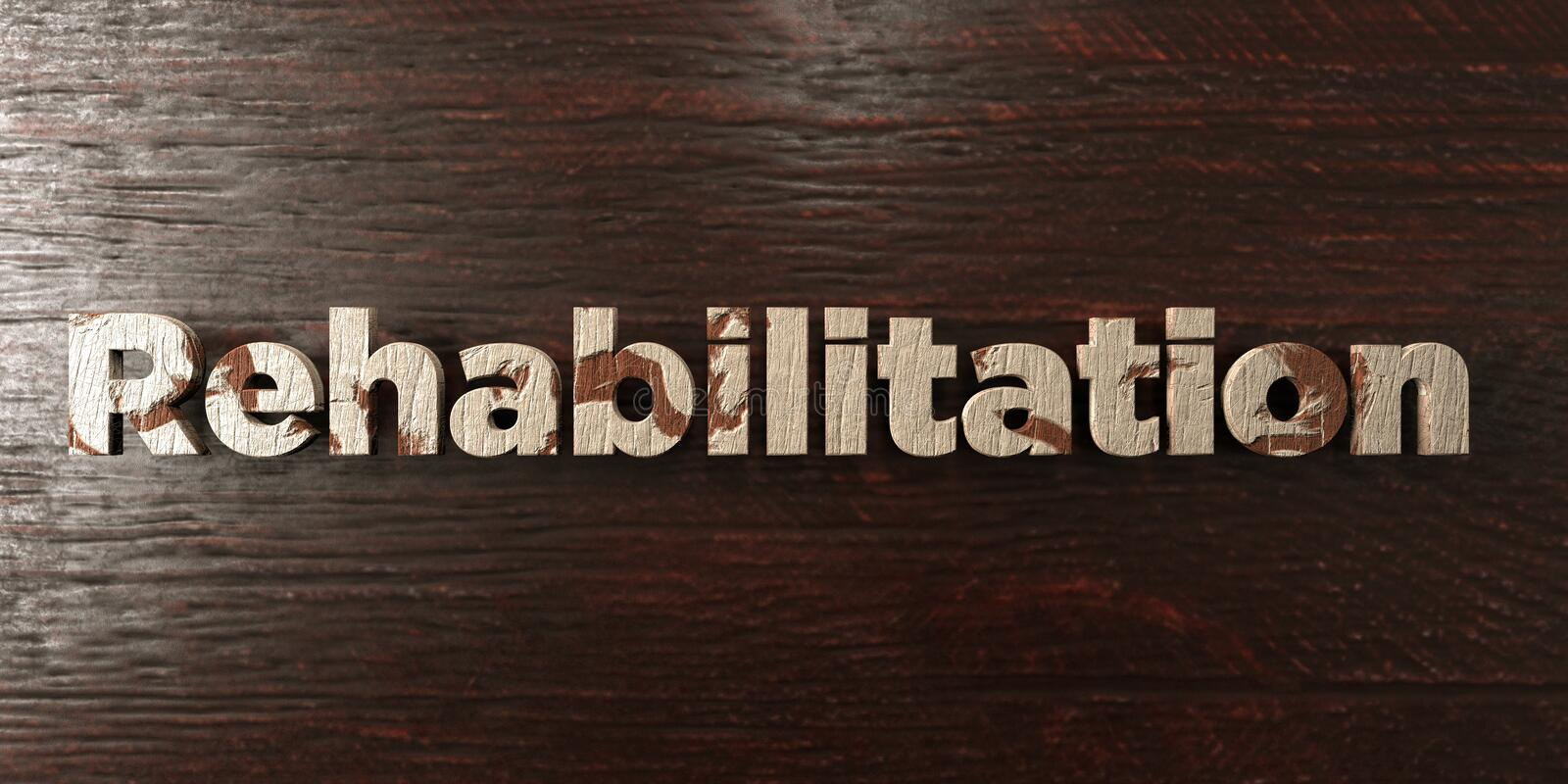 Rehabilitation - grungy wooden headline on Maple - 3D rendered royalty free stock image. This image can be used for an online website banner ad or a print royalty free illustration