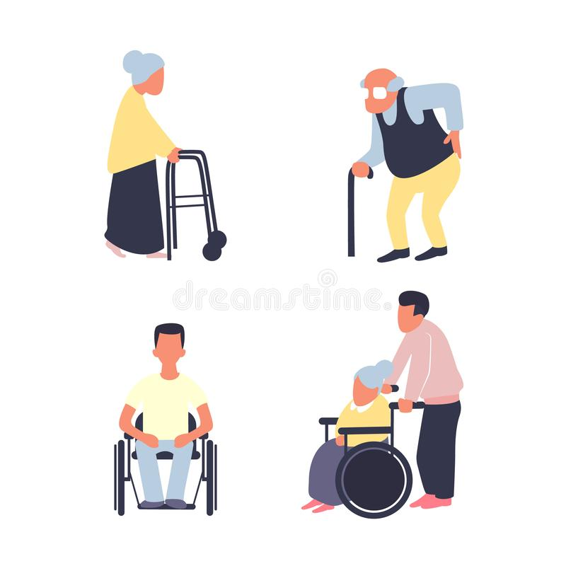 Rehabilitation after injury vector flat set. Old woman with walker, male senior with cane. Man on wheelchair. vector illustration
