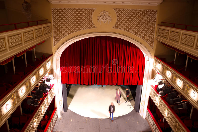 Rehearsal. The actors in the theater,high angle, photography stock images