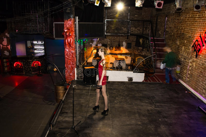 Rehearsal before fashion performance Art Chaos in night club Black Rose in Kirov city in 2016. Russia, Kirov - November, 26, 2016: Rehearsal before fashion royalty free stock photography