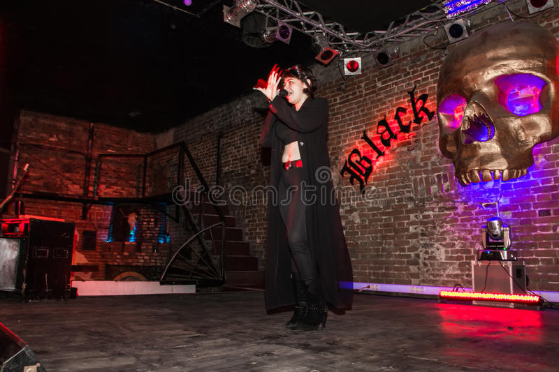 Rehearsal before fashion performance Art Chaos in night club Black Rose in Kirov city in 2016. Russia, Kirov - November, 26, 2016: Rehearsal before fashion royalty free stock images