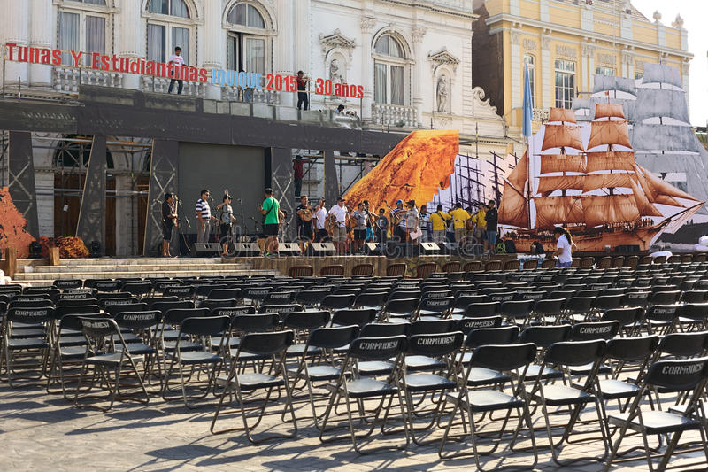 Rehearsal for Music Festival in Iquique, Chile. IQUIQUE, CHILE - JANUARY 22, 2015: Unidentified people rehearsing on the stage for the music festival Tunas y stock photography