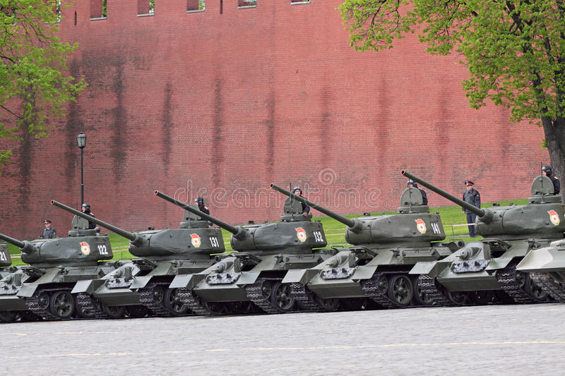 Rehearsal of parade of a victory. MOSCOW - MAY 6: Military vehicles stand Red Square, on May 6, 2010 in Moscow. Tanks of times of the Second World War T-34 were royalty free stock images