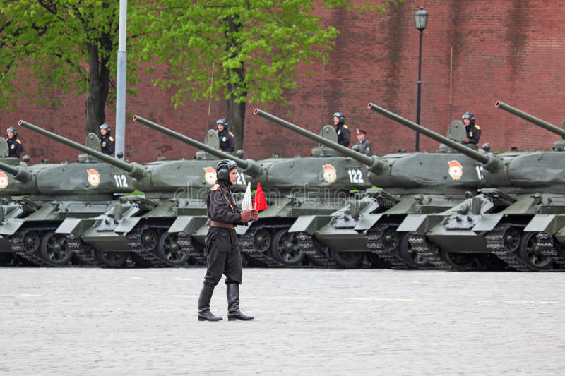 Rehearsal of parade of a victory. MOSCOW - MAY 6: Military vehicles stand Red Square, on May 6, 2010 in Moscow. Tanks of times of the Second World War T-34 were royalty free stock image