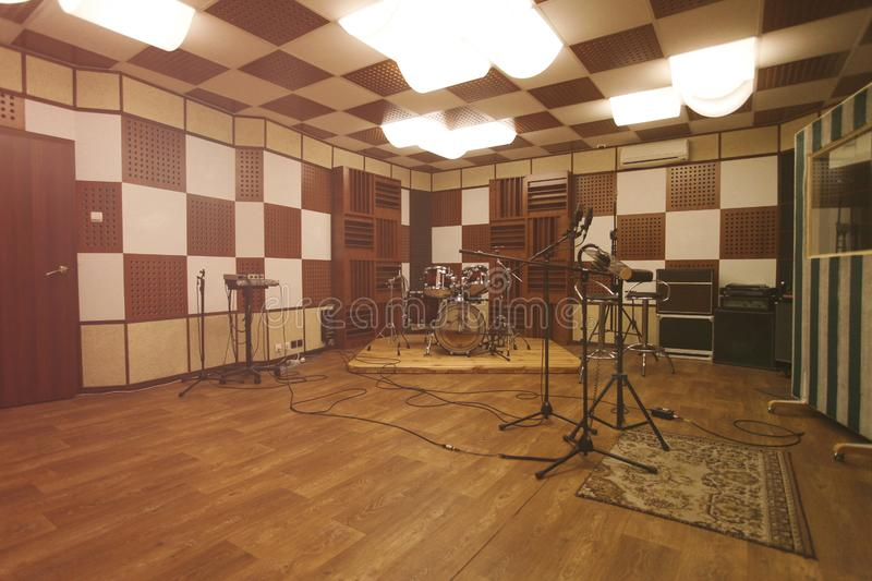 Rehearsal room - interior of recording studio. With professional equipment royalty free stock photos