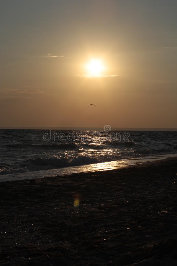 Rehearsal sunset. Black Sea coast,two hours before sunset royalty free stock image