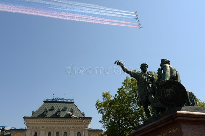 Rehearsal of the Victory Day celebration. On the Red Square, group of assault plane Sukhoi Su. MOSCOW, RUSSIA - MAY 7,2019: Rehearsal of the Victory Day royalty free stock photo