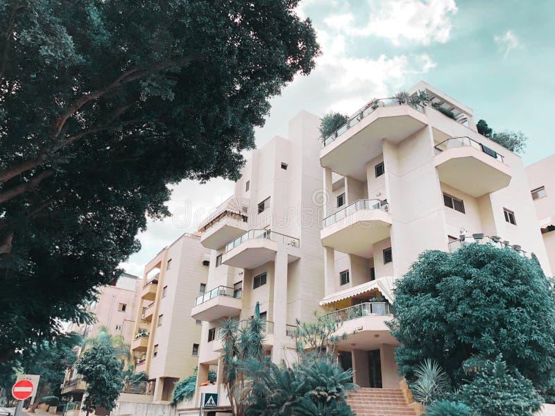 REHOVOT ISRAEL - Augusti 26, 2018: Bostads- byggnad och träd i Rehovot, Israel arkivbilder