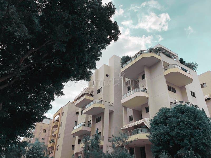 REHOVOT, ISRAEL - 26 de agosto de 2018: Edificio residencial y árboles en Rehovot, Israel imagen de archivo