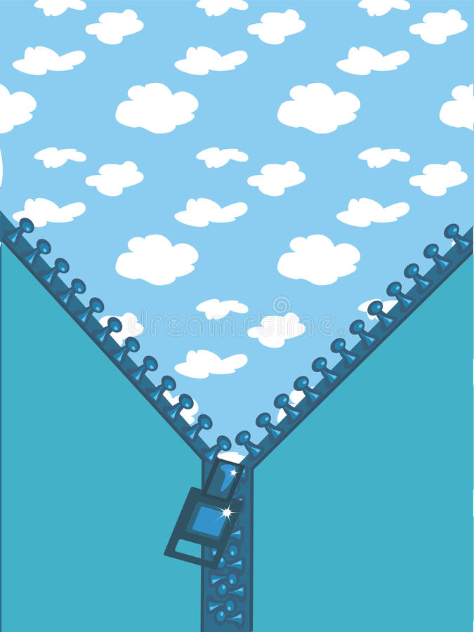 Reißverschluss im Himmel stock abbildung