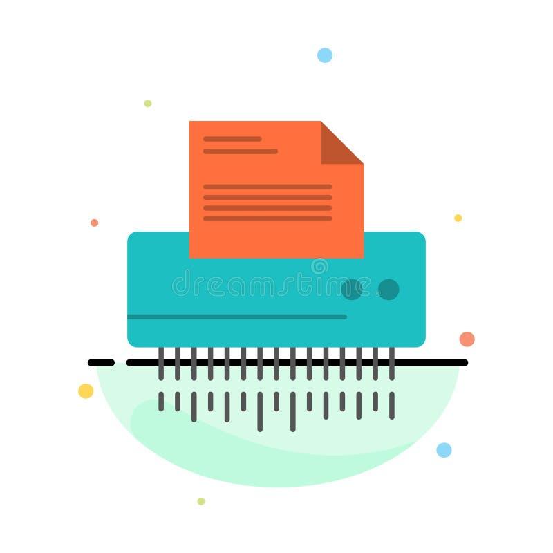 Reißwolf, vertraulich, Daten, Datei, Informationen, Büro, abstrakte flache Farbikonen-Papierschablone vektor abbildung