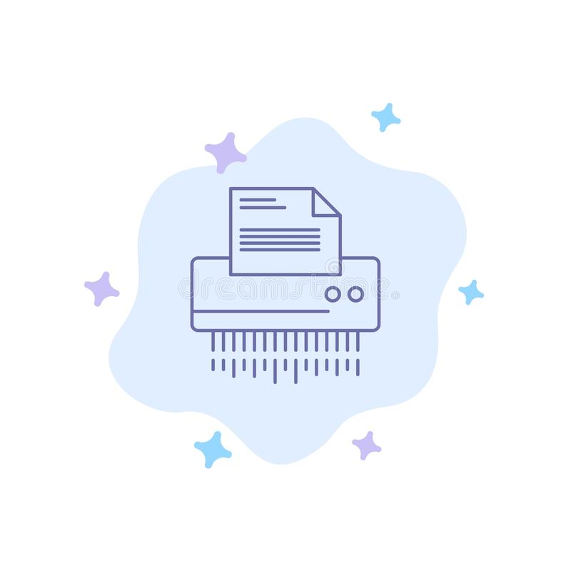 Reißwolf, vertraulich, Daten, Datei, Informationen, Büro, blaue Papierikone auf abstraktem Wolken-Hintergrund stock abbildung