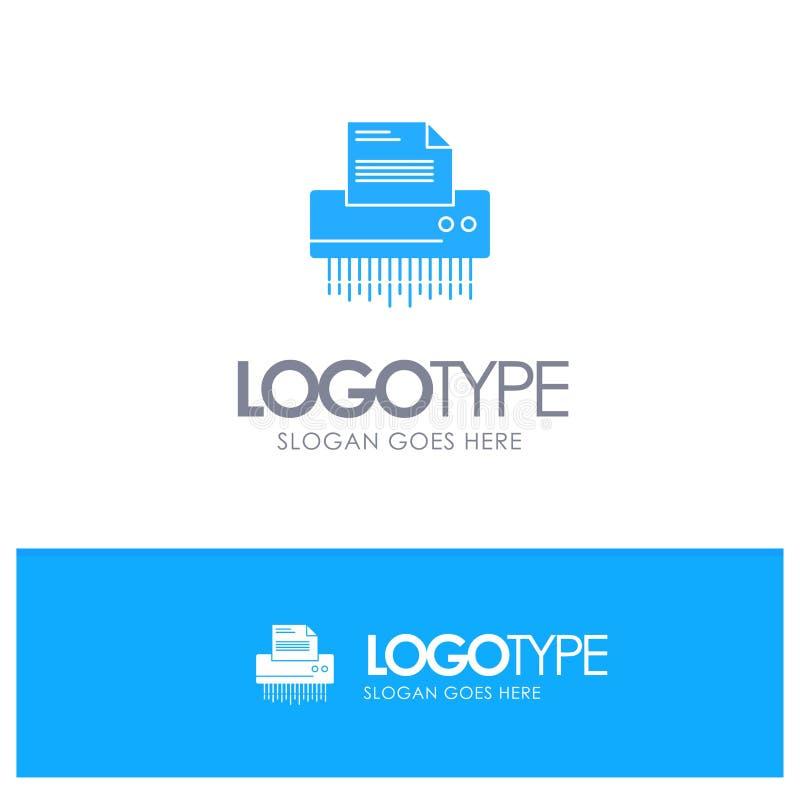 Reißwolf, vertraulich, Daten, Datei, Informationen, Büro, blaues festes Papierlogo mit Platz für Tagline vektor abbildung