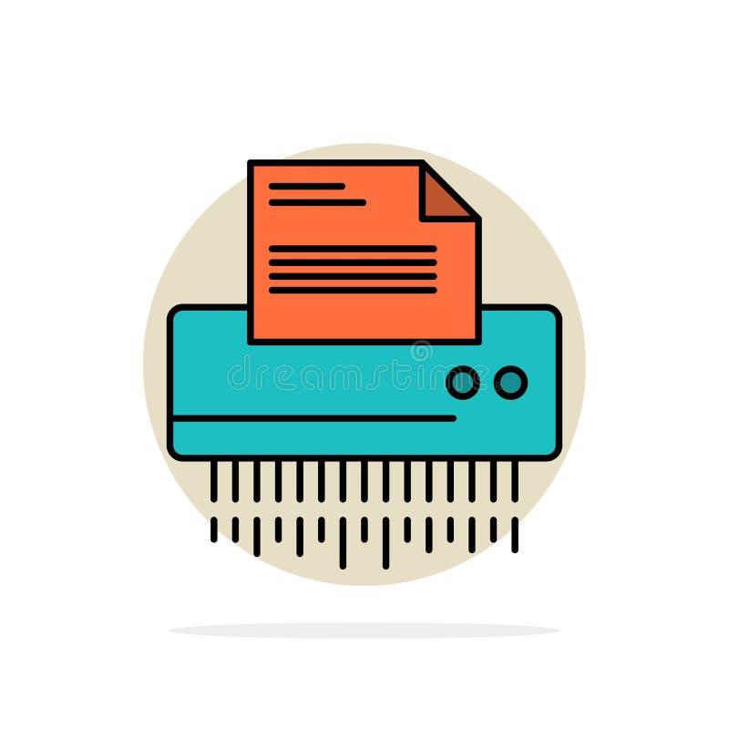 Reißwolf, vertraulich, Daten, Datei, Informationen, Büro, flache Ikone Farbe des abstrakten Kreis-Papierhintergrundes vektor abbildung