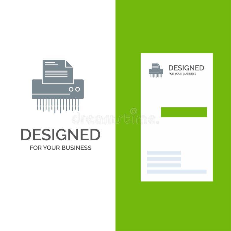Reißwolf, vertraulich, Daten, Datei, Informationen, Büro, Papier Grey Logo Design und Visitenkarte-Schablone lizenzfreie abbildung