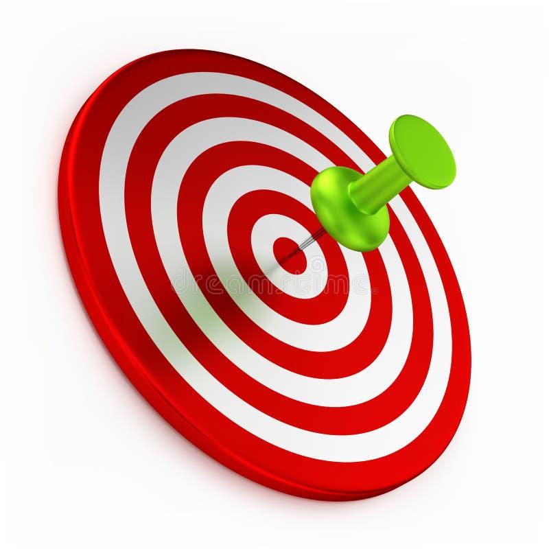 Reißzwecke auf rotem Ziel stock abbildung