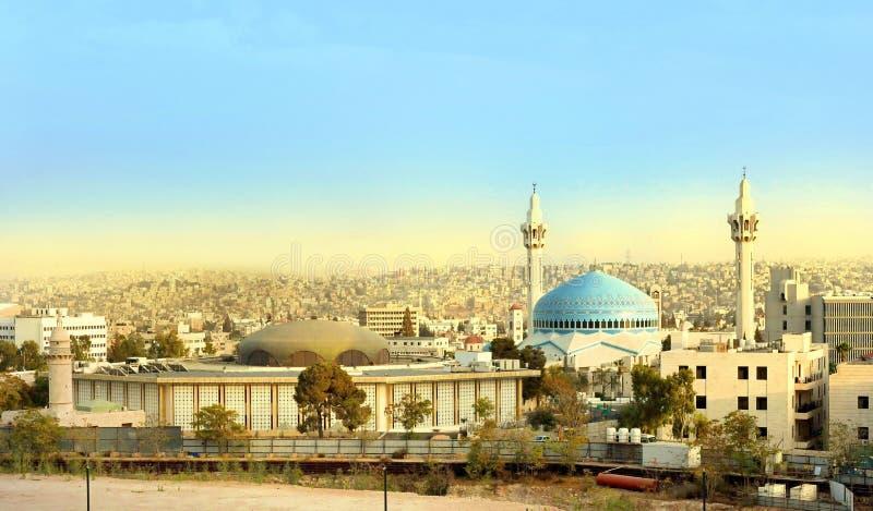Rei Abdullah Mosque em Amman Jordânia imagens de stock