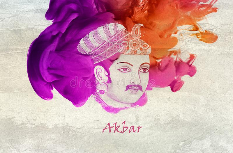 Rei Akbar da dinastia de Mughal ilustração do vetor