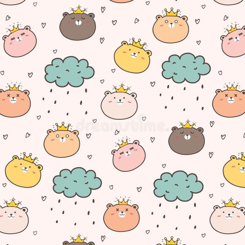 Rei Bear Pattern Background para crianças ilustração do vetor