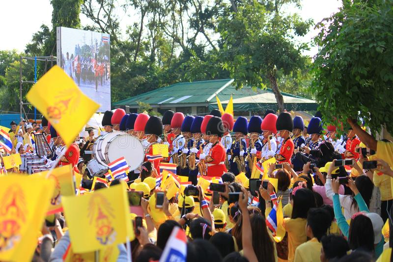 Rei Bhumibol Crest de Rama IX, em sua celebração do aniversário do th 86 imagens de stock