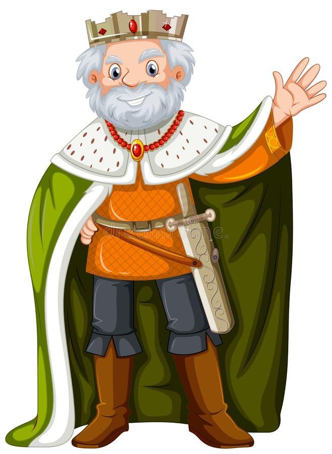 Rei com veste verde ilustração royalty free