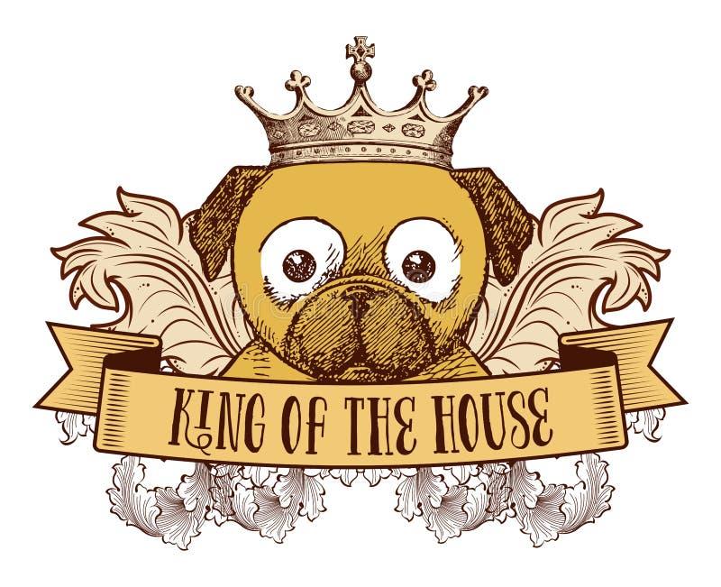 Rei da casa - emblema do cão ilustração stock