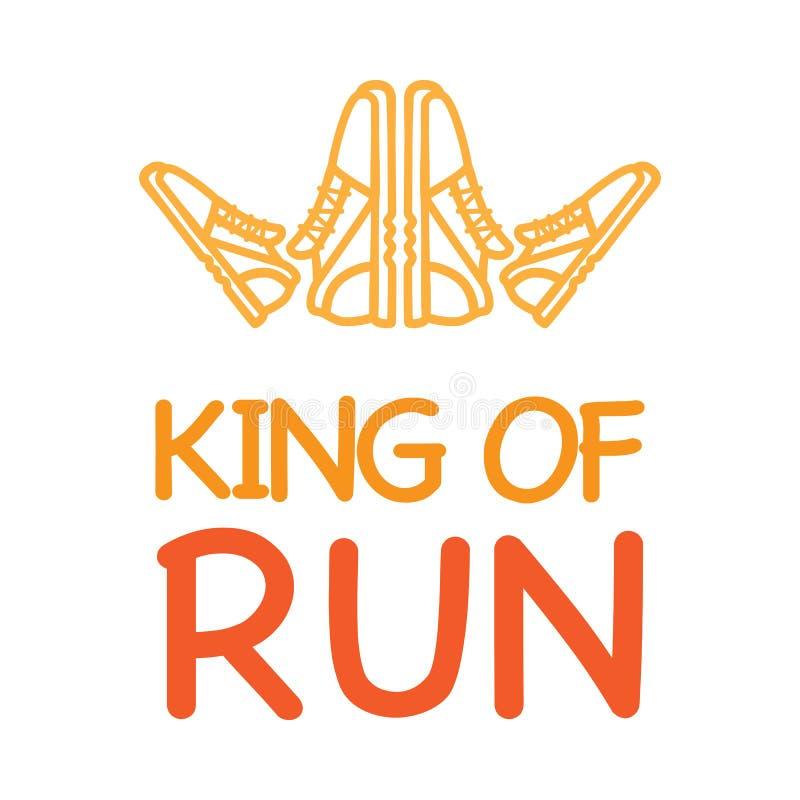 Rei da divisa corrida com Logo Crown das sapatilhas ilustração royalty free